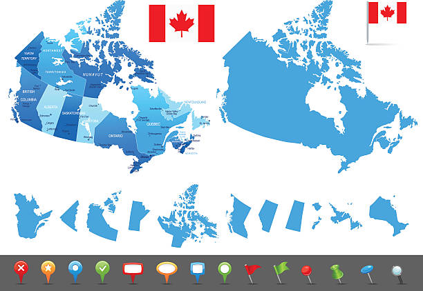 Map of Canada - states, cities and navigation icons Vector maps of Canada with variable specification and icons british columbia stock illustrations