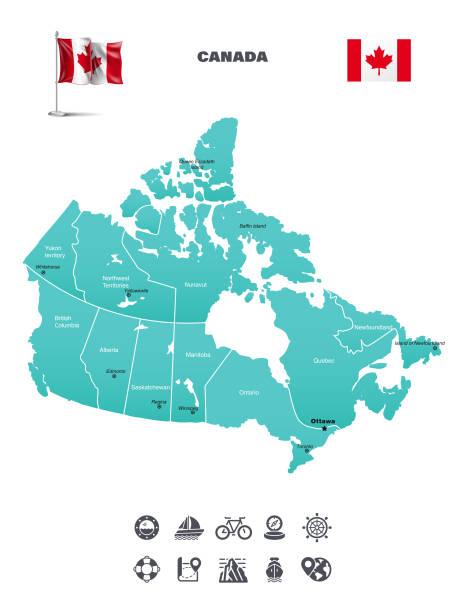 Map of Canada Globe - Navigational Equipment, Map, World Map, Alberta, Arctic alberta stock illustrations