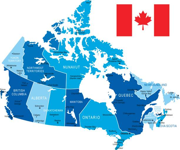 Map of Canada vector art illustration