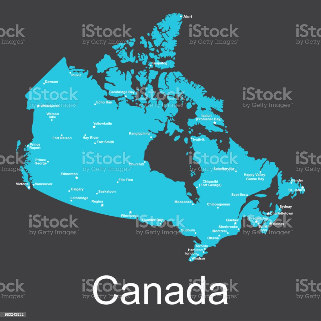 Map of canada with cities on a dark background vector illustration map of canada with cities on a dark background vector illustration royalty free map gumiabroncs Gallery