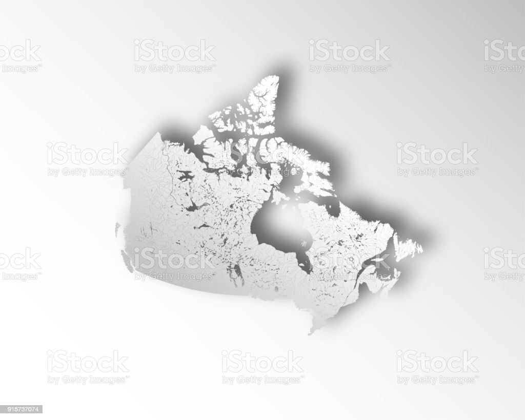 Lakes Of Canada Map.Map Of Canada With Paper Cut Effect Rivers And Lakes Are Shown Stock