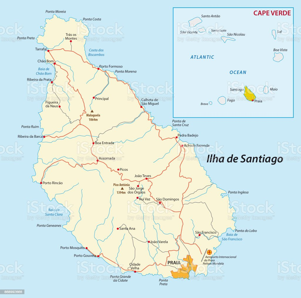 Map Of Cape Verde Island Santiago Stock Vector Art More Images of