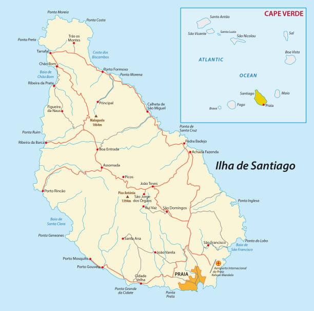 ilustrações de stock, clip art, desenhos animados e ícones de map of cape verde island santiago - cabo verde