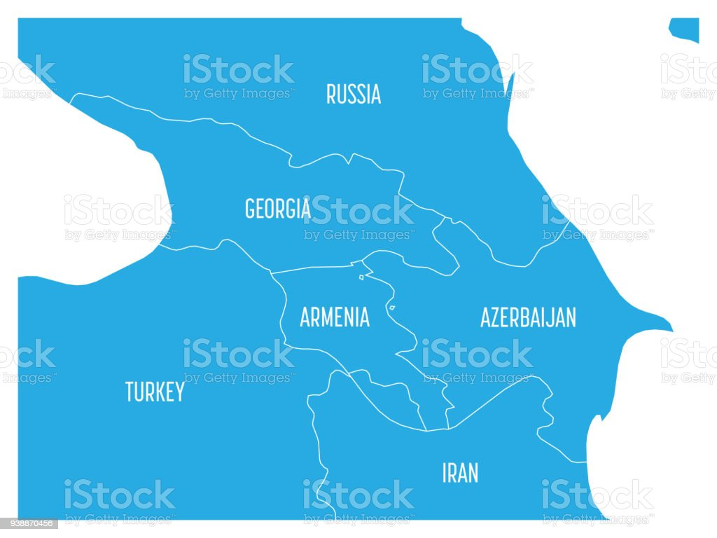Map of Caucasian region with states of Georgia, Armenia, Azerbaijan, Russia Turkey and Iran. Flat blue map with white country borders and labels royalty-free map of caucasian region with states of georgia armenia azerbaijan russia turkey and iran flat blue map with white country borders and labels stock vector art & more images of armenia - country
