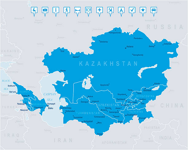 Map of Caucasus and Central Asia - states, cities,  icons Highly detailed vector map of Caucasus and Central Asia with states, capitals and big cities. azerbaijan stock illustrations