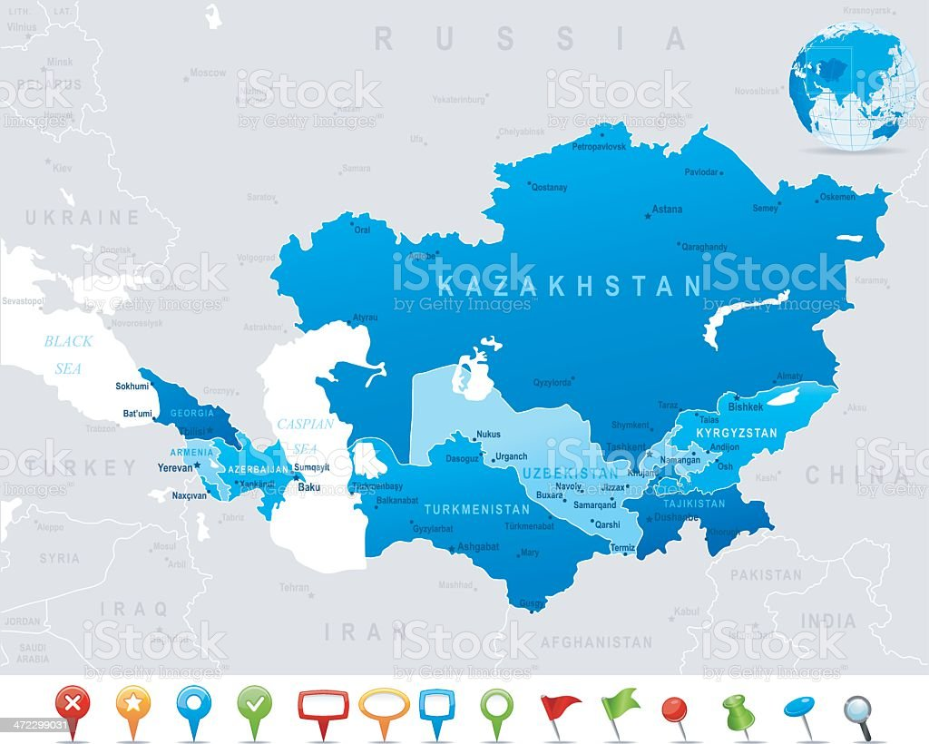 Map of Caucasus and Central Asia - states, cities, icons