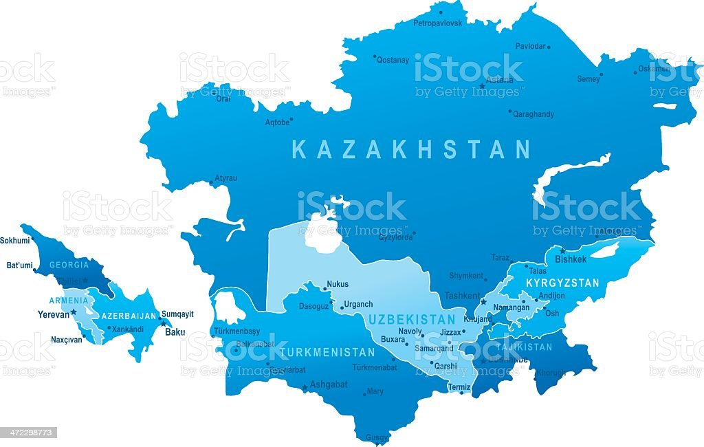 map of caucasus and central asia states cities royalty free map of caucasus