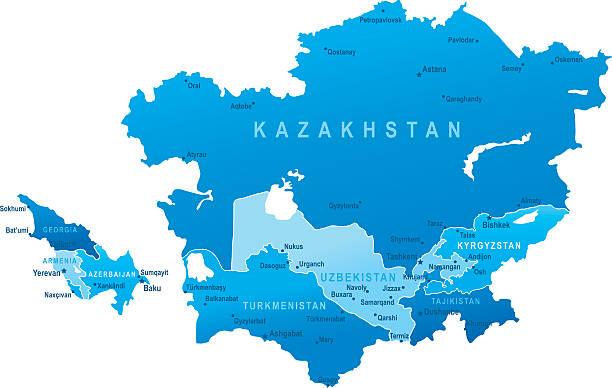 karte der kaukasus und zentralasien-staaten, städte - kasachstan stock-grafiken, -clipart, -cartoons und -symbole