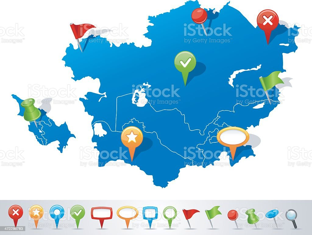 Map of Caucasus and Central Asia with navigation icons vector art illustration