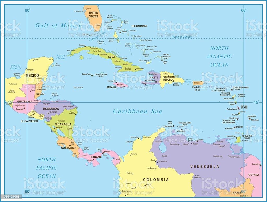 Cartina Geografica America Centrale.Mappa Di America Centraleillustrazione Immagini Vettoriali