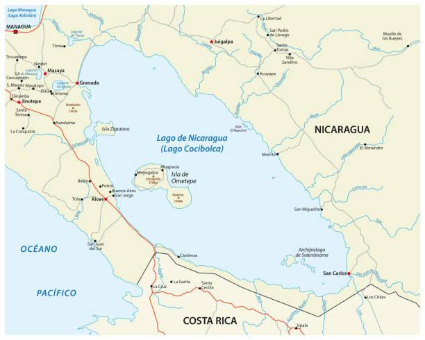 karte von mittelamerika nicaragua-see - managua stock-grafiken, -clipart, -cartoons und -symbole