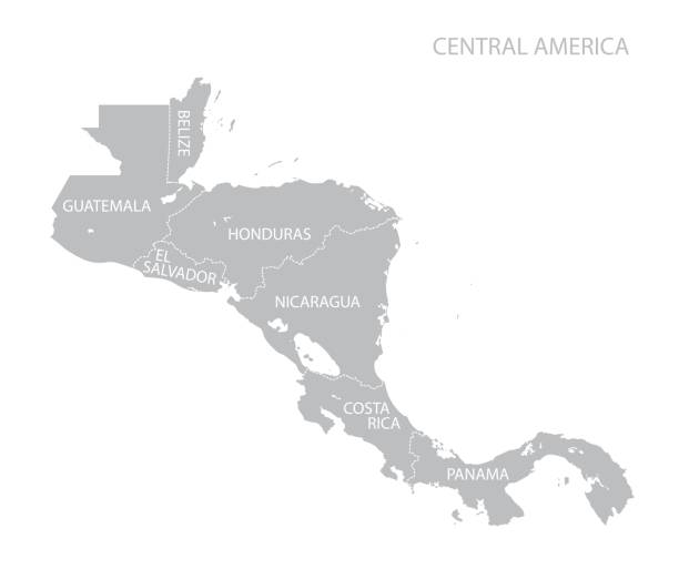 Map of Central America Map of Central America. Vector central america stock illustrations