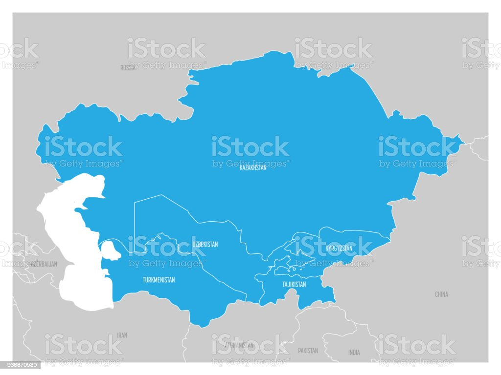 Map Of Central Asia Region With Blue Highlighted Kazakhstan