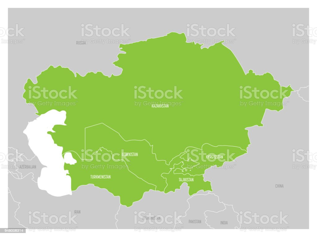 Map Of Central Asia Region With Green Highlighted Kazakhstan