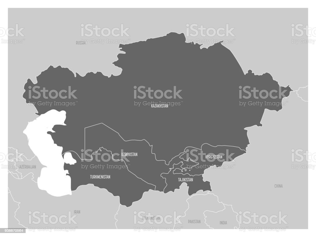 Map Of Central Asia Region With Highlighted Kazakhstan Kyrgyzstan