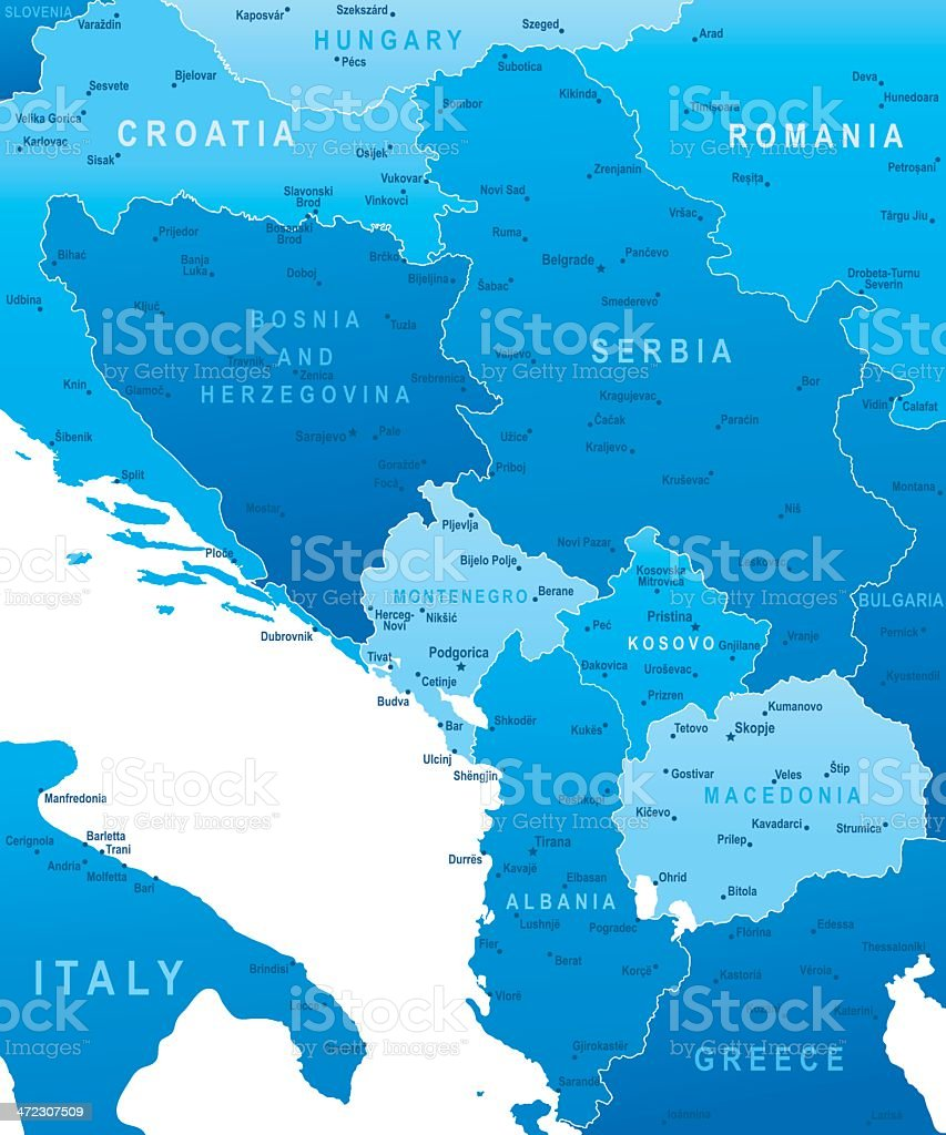 Map of Central Balkan Region - states and cities royalty-free map of central balkan region states and cities stock vector art & more images of albania