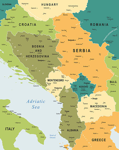 map of central balkan region - macedonia country stock illustrations, clip art, cartoons, & icons