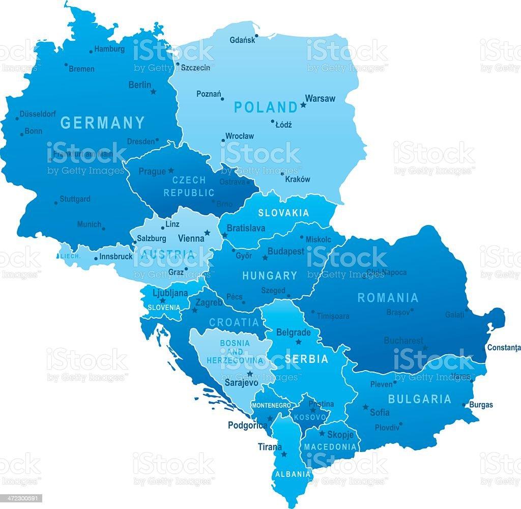 Ilustración de Mapa De Europa Central De Estados Unidos Y Las ...