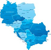 Highly detailed vector map of Central Europe with states, capitals and big cities