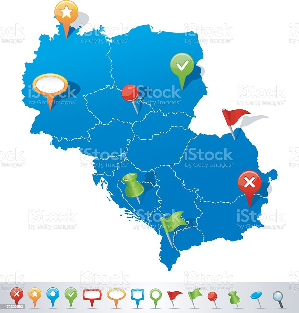 Map of Central Europe with navigation icons royalty-free stock vector art