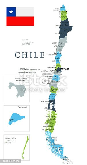 Map of Chile - Vector illustration