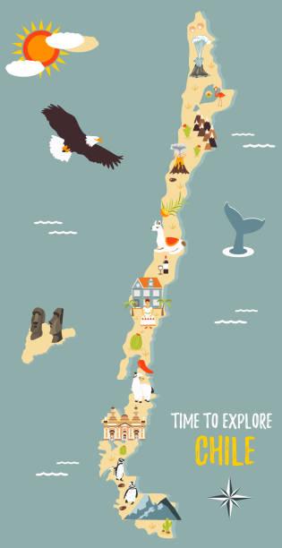 yerler, hayvanlar, yerler ile şili haritası - şili stock illustrations