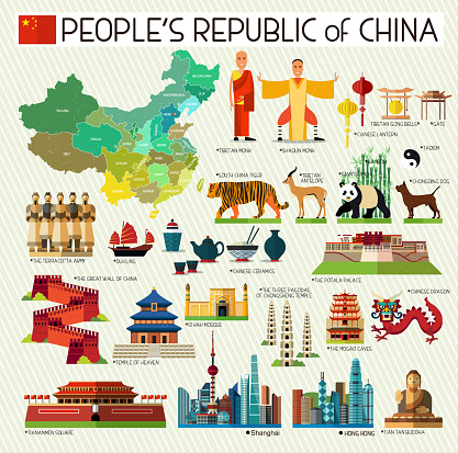 Map of China and Travel Icons. China Travel Map. Vector Illustration.