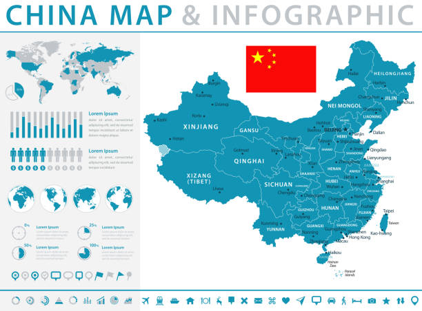 Map of China - Infographic Vector Map of China - Infographic Vector illustration china stock illustrations