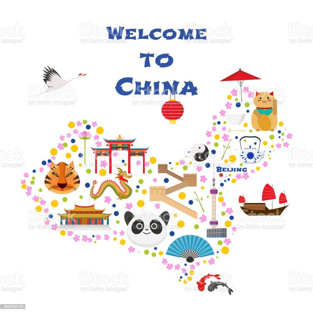 Chinesische Mauer Karte.Karte Von Chinavektorillustration Design Symbole Mit Chinesische