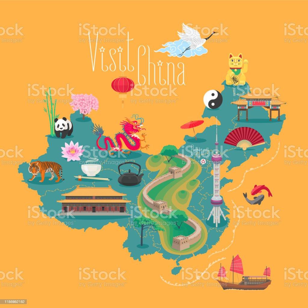 Chinesische Mauer Karte.Karte Von China Vektorillustration Design Stock Vektor Art Und Mehr