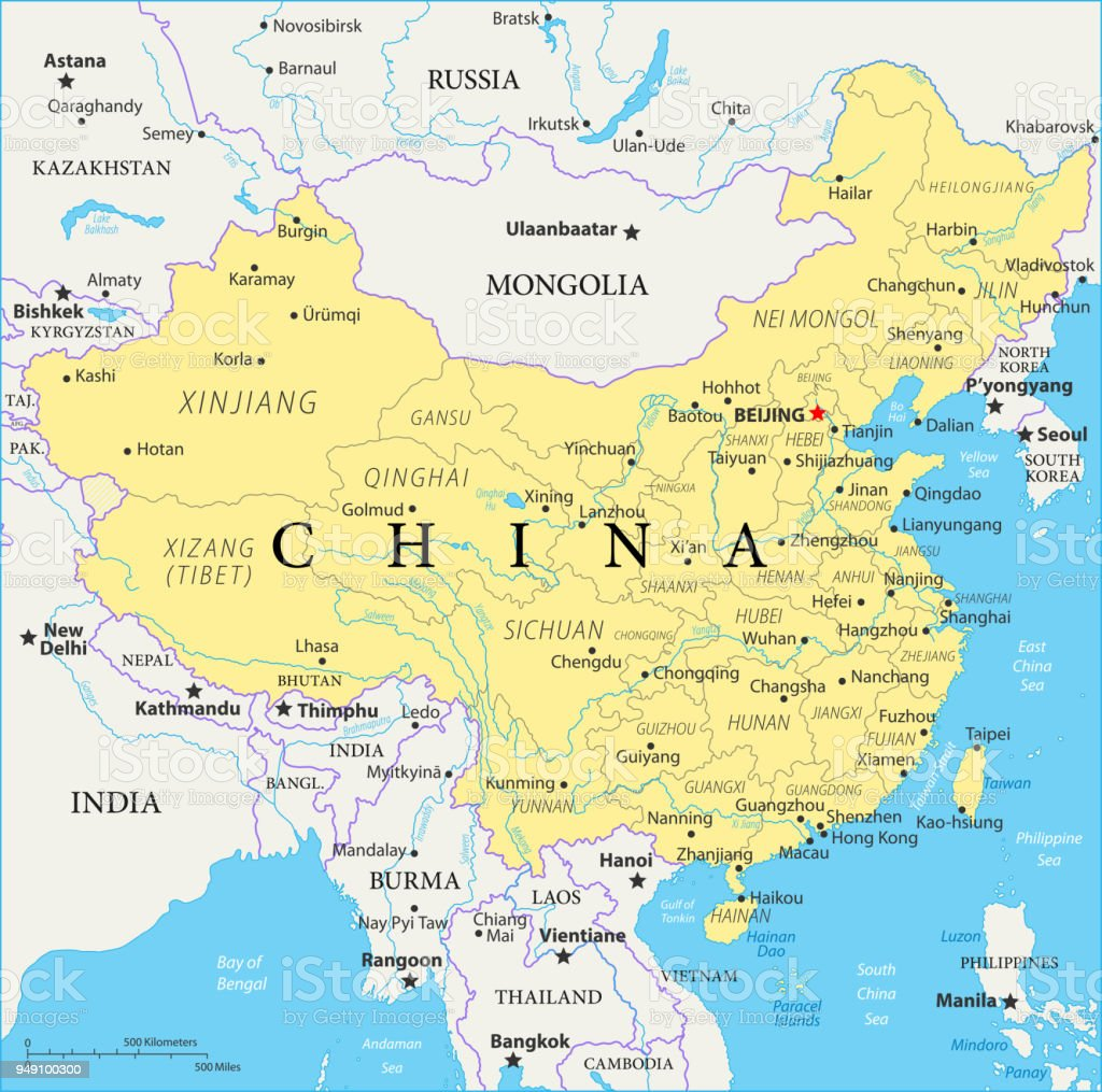 Karte China.Map Of China Vector Stock Illustration Download Image Now