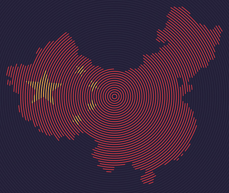 Map of China with Chinese Flag