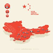 Map of China with icons of city, and airplane routes