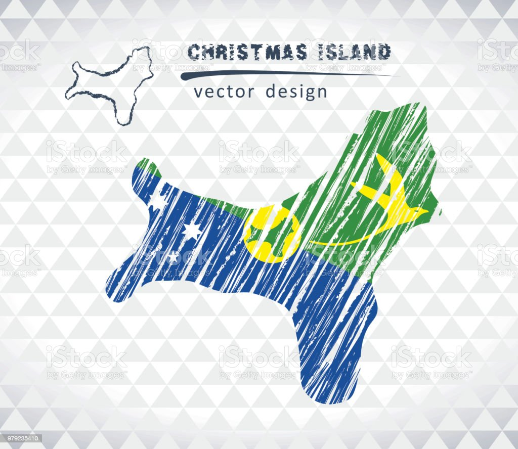 Map Of Christmas Island With Hand Drawn Sketch Pen Map Inside Vector ...