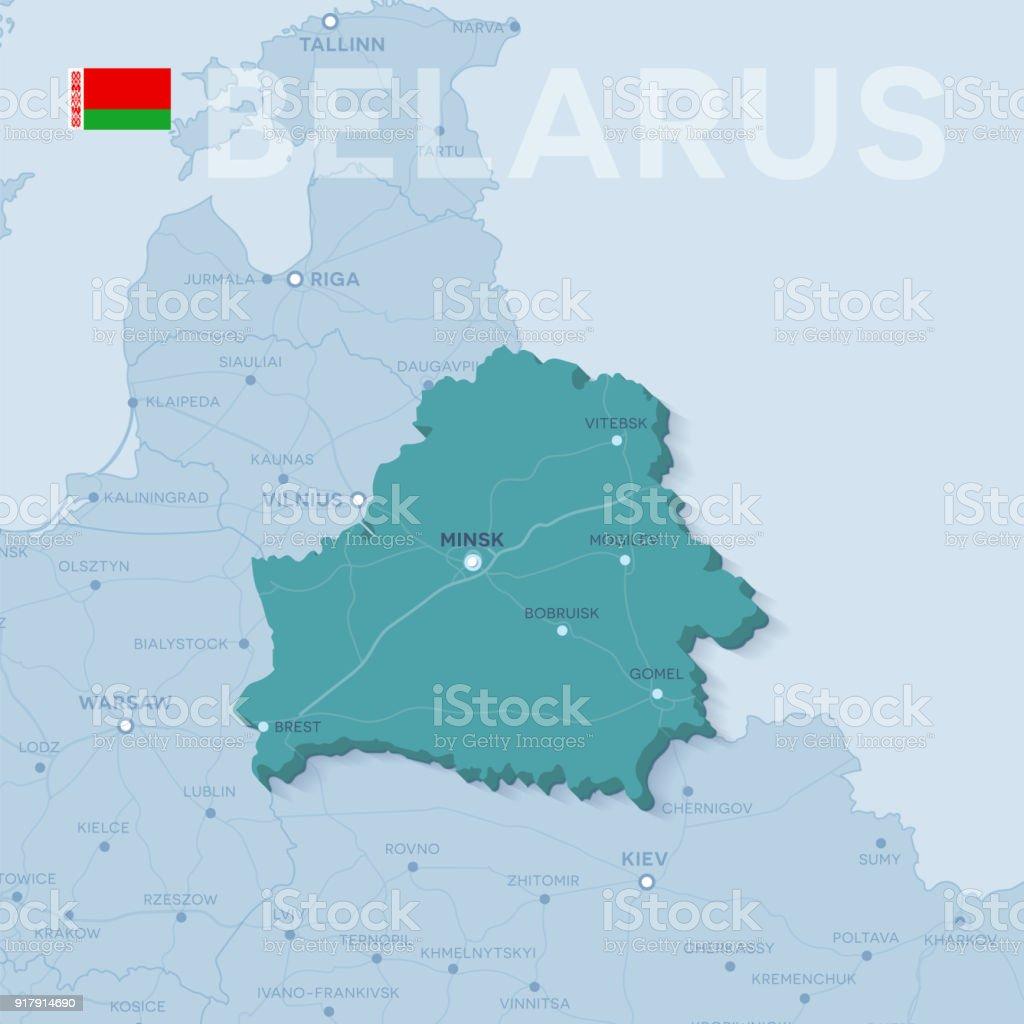 Map Of Cities And Roads In Belarus stock vector art 917914690 iStock