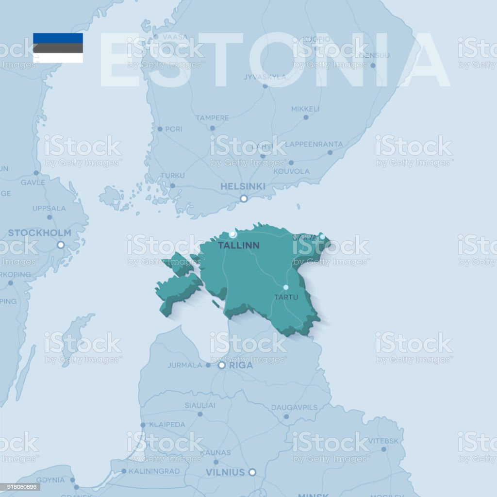 Map Of Cities And Roads In Estonia Stock Vector Art More Images of