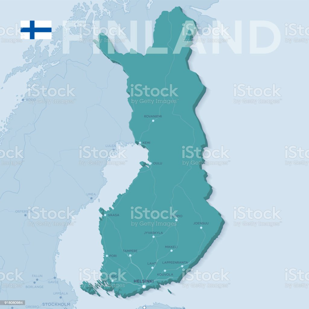 Map Of Cities And Roads In Finland Stock Vector Art More Images of