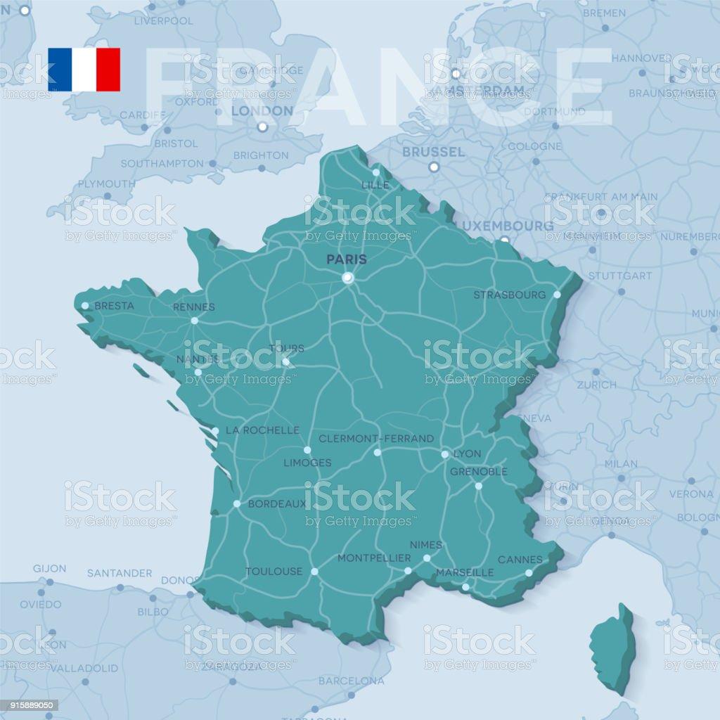 都市フランスの道路の地図 - 3D...