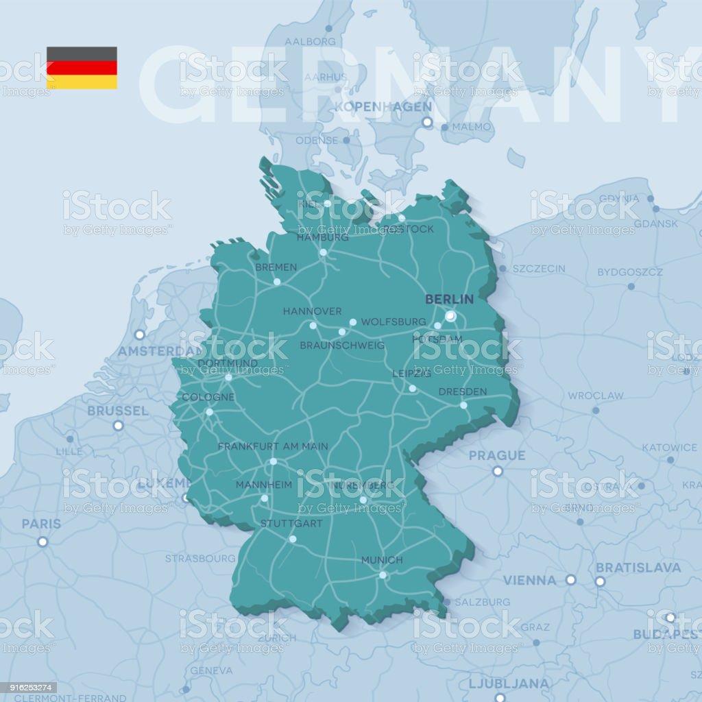 Mapa de cidades e estradas na Alemanha. - ilustração de arte em vetor