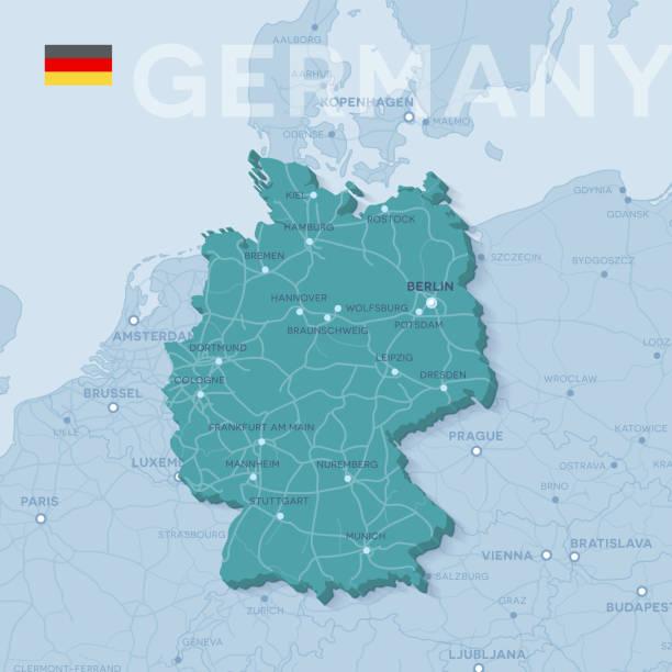karte von städten und straßen in deutschland. - hannover stock-grafiken, -clipart, -cartoons und -symbole