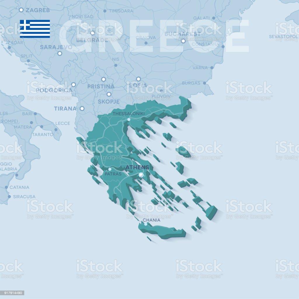 Karta Aten Grekland.Karta Over Stader Och Vagar I Grekland Vektorgrafik Och Fler Bilder