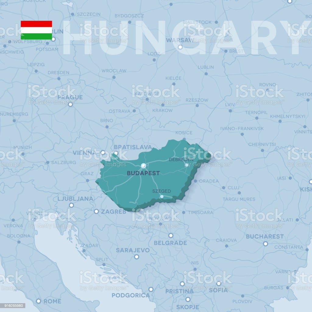 Karte von Städten und Straßen in Ungarn. – Vektorgrafik