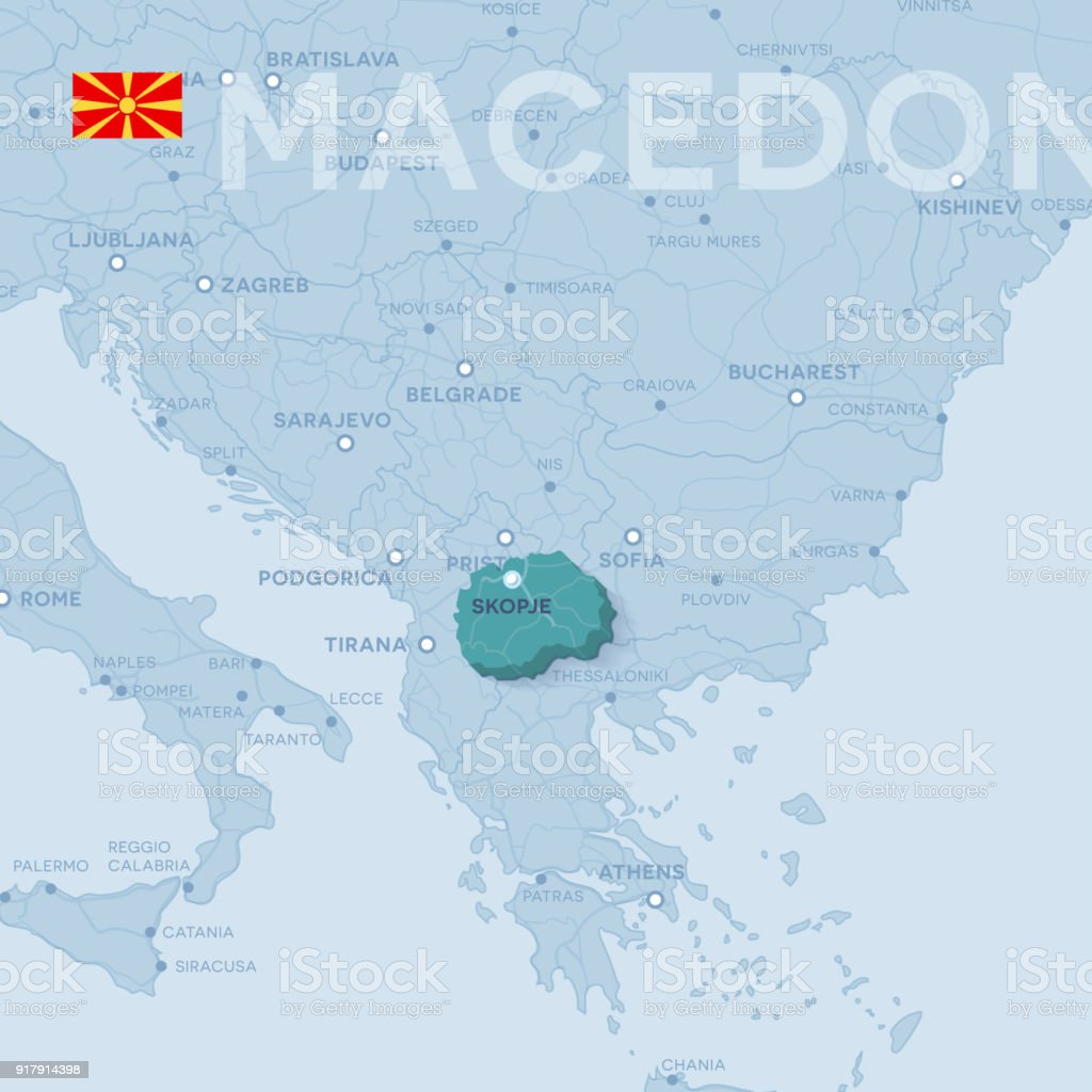 Map of cities and roads in Macedonia. vector art illustration