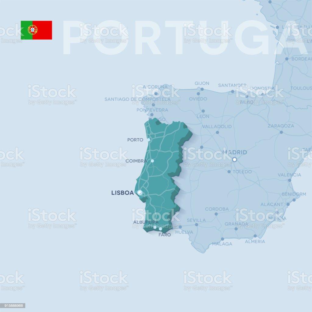 Carte des villes et des routes au Portugal. - Illustration vectorielle