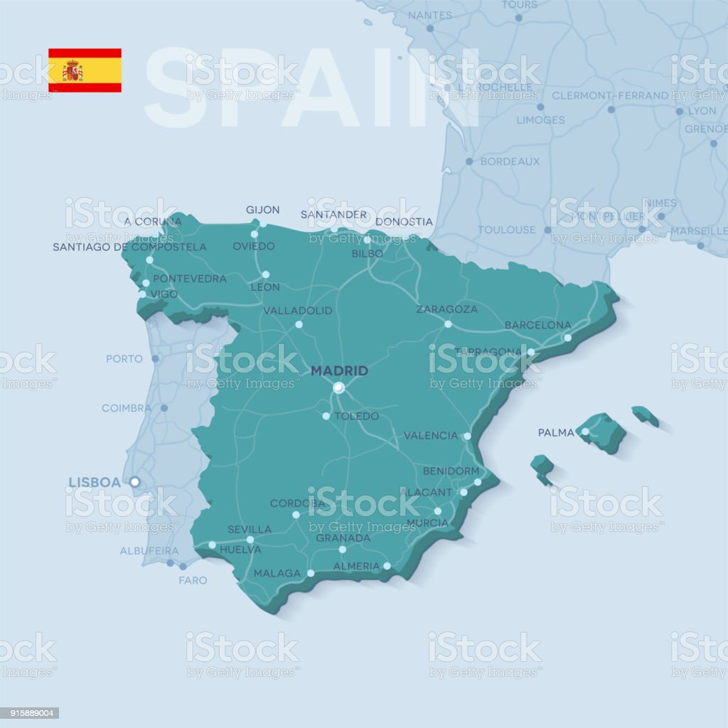 Map Of Cities And Roads In Spain Stock Vector Art More Images Of
