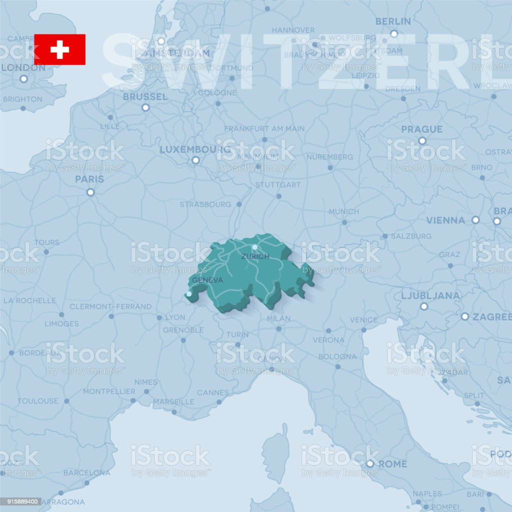 Picture of: Map Of Cities And Roads In Switzerland Stock Illustration Download Image Now Istock