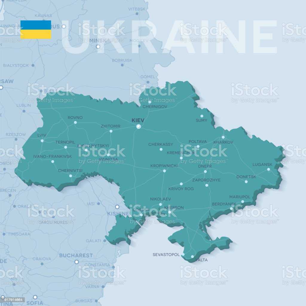 Map Of Cities And Roads In Ukraine Stock Vector Art 917914664 Istock