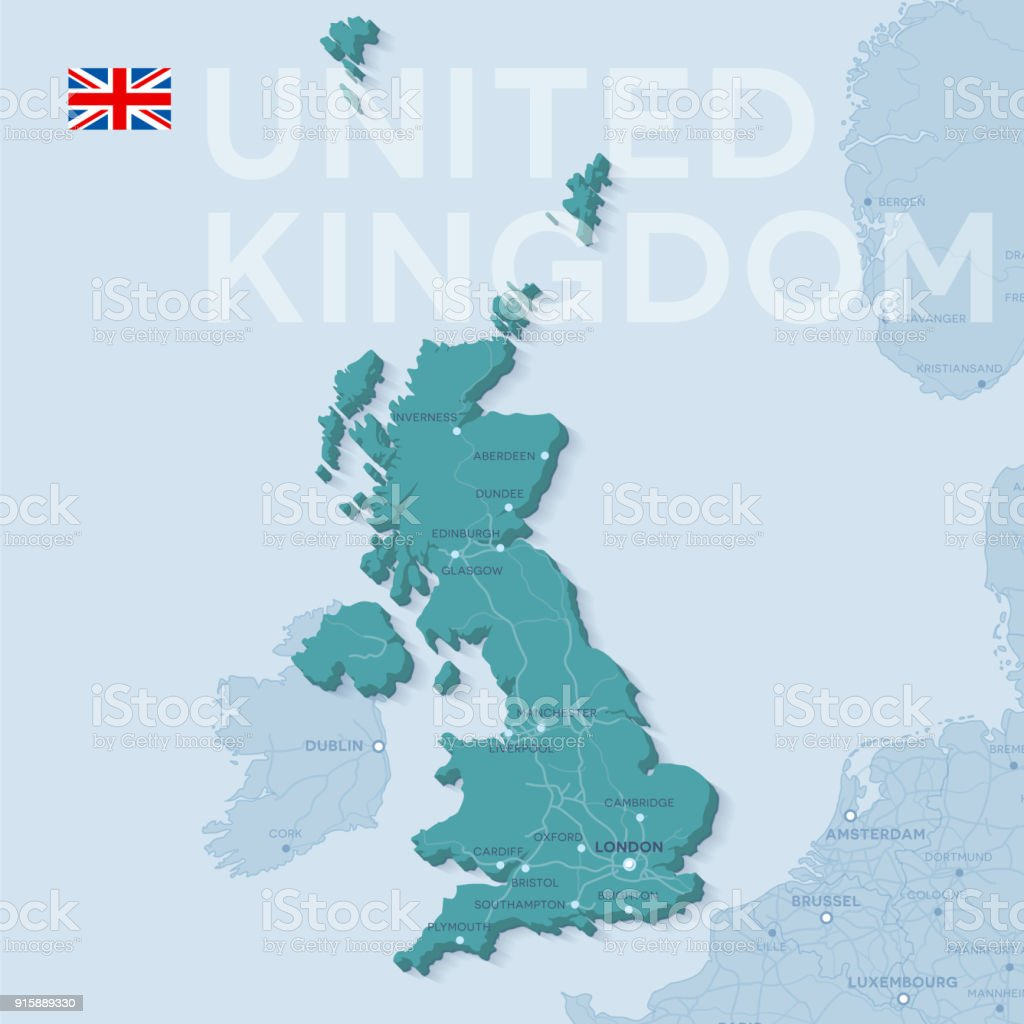 Map of cities and roads in United Kingdom. vector art illustration