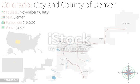 Large and detailed map of  city & county of Denver in Colorado, USA