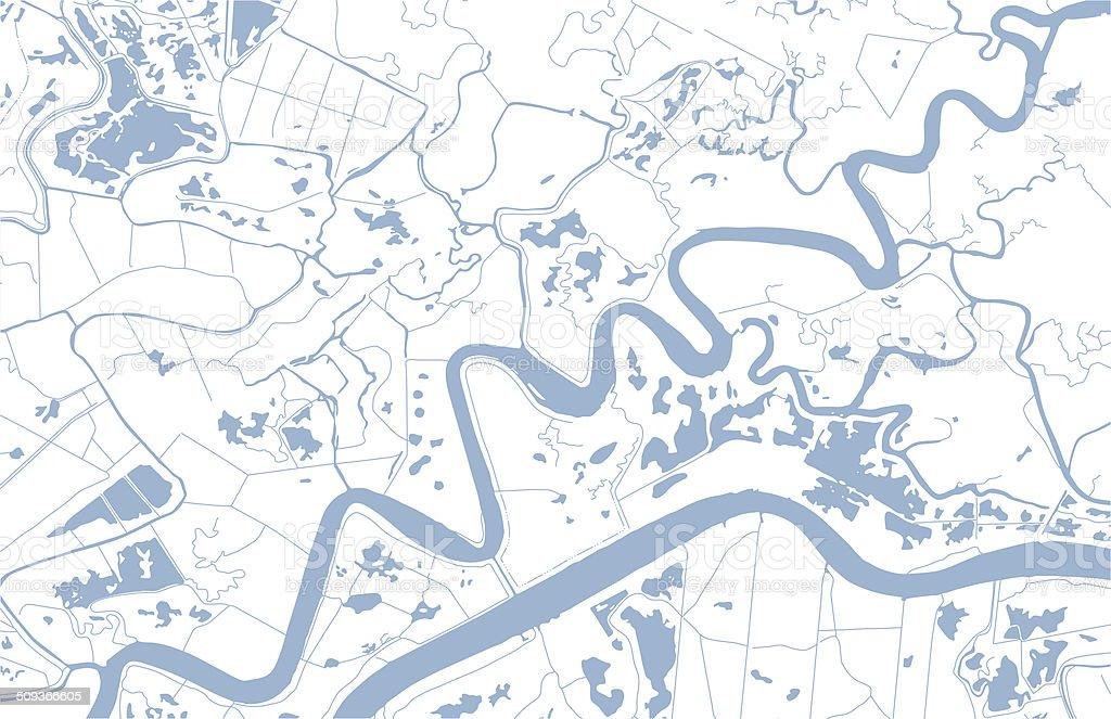 Map of coastal waterways vector art illustration